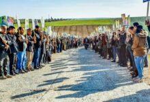 Photo of أهالي كوباني يحتجون أمام المقر الروسي تنديداً بالهجمات التركية