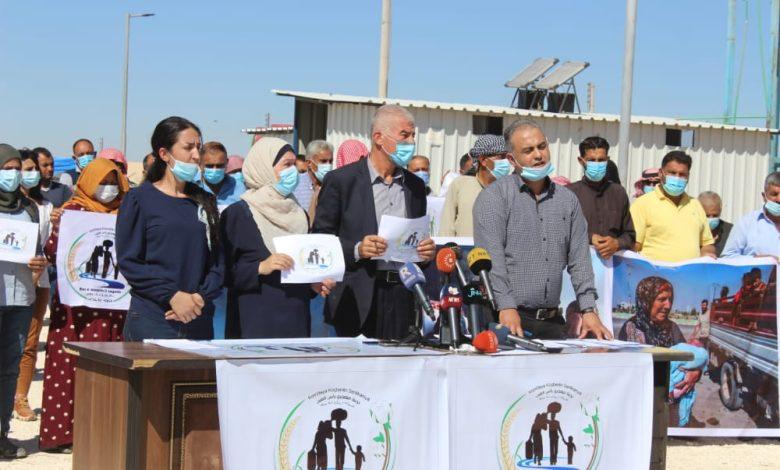 "Photo of لجنة ""باقون وعائدون"" تعقد مؤتمراً صحفياً في مخيم واشو كاني"